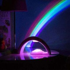 Turn your bedroom into a magical landscape with this LED Rainbow Projector Lamp! - EASY TO OPERATE : Turns on with the push of a button - VERY BRIGHT LEDs : Uses the latest Multi-Colord LED Bulbs, whi