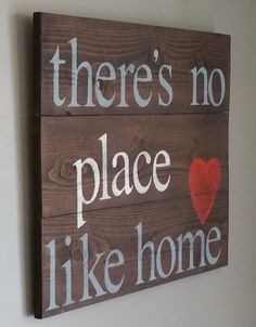 Reclaimed cedar wood sign there's no place like by emc2squared