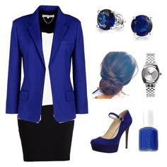 """Blue work"" by lewiskate-1 on Polyvore featuring Jessica Simpson, VILA, Alexander Wang, Vanessa Bruno, Bling Jewelry, Nixon and Essie"