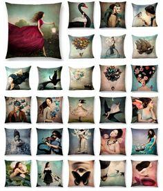 """Eccentric Portrait"" Throw Covers – One-Eyed Owls Old Pillows, Linen Pillows, Eccentric, Cotton Linen, Owls, Pillow Covers, Artsy, Shops, Portrait"