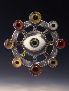 SUSAN SKINNER / FIBULA STUDIO Brooch / Eye-Con Mandala ~ Sterling, Glass Eyes