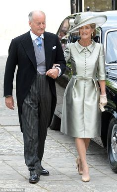 """Pictured, Lord and Lady Brabourne attend their daughter Alexandra""""s wedding"""