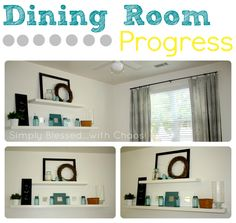 Dining Room White Shelves Decor, Grey, Teal Blue, White, Yellow  Simply Blessed...with Chaos! #MilitaryHousing