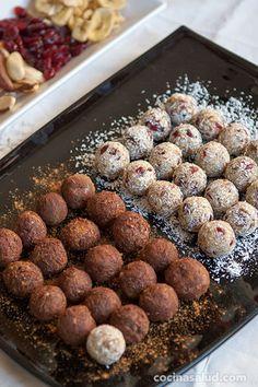 Trufas de frutos secos sin azúcar añadido. www.cocinasalud.com