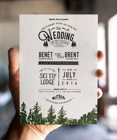 This three color letterpress invitation set is the perfect way to set the tone for your wedding in the great outdoors. The tree detailing at the bottom is especially unique. It is a custom painted watercolor scenery that is a letterpress detail which gives the invitations a unique dimensional feel. * This invitation set can also be printed digitally for a more affordable option * ----------------------------------------------------------------------------------------- * Minimum order of 50…