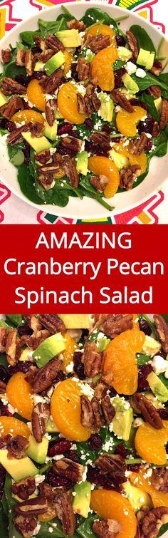 My favorite salad with candied pecans, cranberries, feta, avocado and oranges! YUM YUM YUM! | MelanieCooks.com