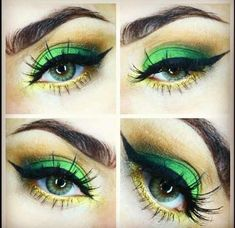 Green and gold eyeshadow + winged eyeliner // For Baylor events. #SicEm