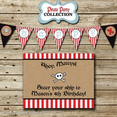 Pirate Birthday Party Pack: printable photo invitation & thank you card, banners, sign, party circles, favor tags, food/drink labels, etc.