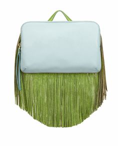 The Volon Bon-Bon Sky Blue Color block Clutch Fringe Handbags, Blue Handbags, Fringe Purse, Leather Clutch Bags, Leather Purses, Leather Handbags, Blue Clutch, Blue Purse, Leather Fringe