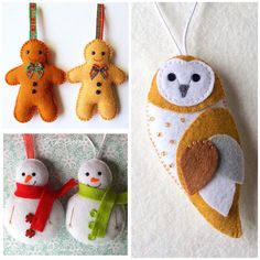 Set of 3 Felt Ornaments - PDF Patterns  This is a PDF download for a set of 3 patterns to make your own adorable felt gingerbread man, snowman and