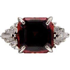Vintage Garnet Engagement Ring Pyralspite 10.99ct Asscher Diamond Platinum
