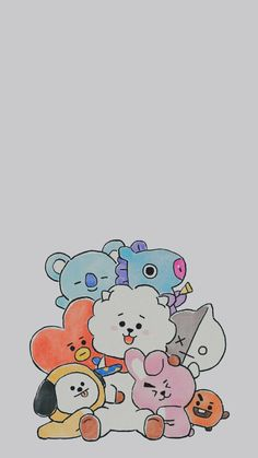 Bts Wallpaper, Iphone Wallpaper, Bts Book, Catty Noir, Kpop Drawings, Bts Backgrounds, Bts Chibi, Cute Cartoon Wallpapers, Bts Lockscreen