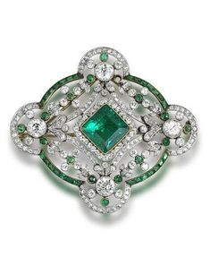 1910 Belle Epoque - Emeralds & Diamond detachable brooch fitting