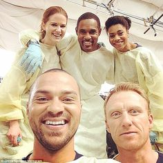 Just what the doctor ordered: The actor posed beside his Grey's Anatomy co-stars (L to R) Sarah Drew, Jason George, Kelly McCreary, and Kevin McKidd