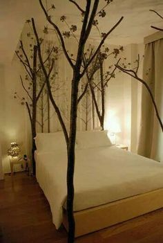 would be neat-o with twinkle lights in the branches amazing bed. would be neat-o with twinkle lights in the branches Dream Bedroom, Home Bedroom, Bedroom Decor, Wall Decor, Bedroom Ideas, Tree Bed, Cool Beds, Luxurious Bedrooms, Beautiful Bedrooms