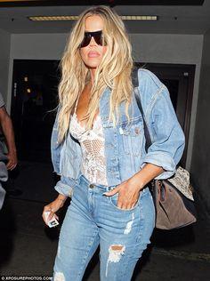 Crop it like it's hot in a cropped denim jacket like Khloe #DailyMail