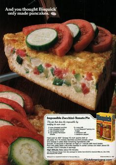 Get the recipes for the quick and easy classic dinners -- Impossible zucchini-tomato pie and Impossible taco pie! Taco Pie Recipes, Bisquick Recipes, Cooking Recipes, Quiche Recipes, Tart Recipes, Bisquick Impossible Quiche Recipe, Zucchini Pie, Zucchini Tomato, Gastronomia