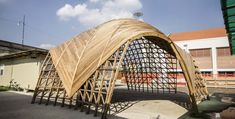 WOODOME RFI Timber Architecture, Pavilion Architecture, Architecture Student, Architecture Design, Shell Structure, Timber Structure, Timber Planks, Temporary Structures, Bamboo House