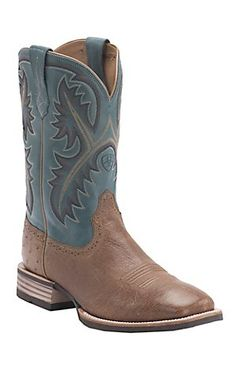 Ariat® Quickdraw™ Men's Antique Tan Smooth Ostrich w/Blue Top Double Welt Square Toe Exotic Western Boots | Cavender's