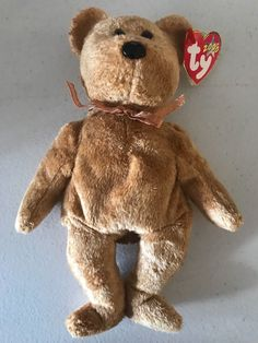 5ee8dd982cd Cashew TY Beanie Baby Soft Gold Tan Teddy Bear MWMT Birthday April 22 2000   4292