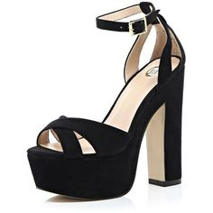 River Island Black block heel platform sandals ($80) ❤ liked on Polyvore