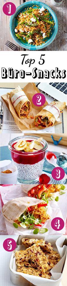 Unsere Top 5 fürs Büro: Linsensalat mit grünem Spargel, vegetarische Wraps, Chia-Pudding mit Himbeeren, Pitabrot mit Paprika und vegane Müsli-Riegel.