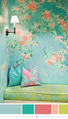 painted mural floral wallpaper --- modern bohemian boho interior design / vintage and mod mix with nature, wood-tones and bright accent colors / anthropologie-inspired chic mid-century home decor Color Inspiration, Interior Inspiration, Creative Inspiration, Interior And Exterior, Interior Design, Interior Paint, Deco Boheme, Piece A Vivre, Saturated Color