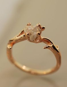 Twig Elegance Beautiful twigs are intertwined to make this elegant ring. The ring in the photos is solid 14 karat rose gold and it is set with a beautiful rough diamond that is around 5 to 6 mm in siz Raw Diamond Engagement Rings, Raw Diamond Rings, Morganite Engagement, Engagement Ring Settings, Diamond Wedding Bands, Rough Diamond, Raw Stone Rings, Rustic Engagement Rings, Uncut Diamond Ring