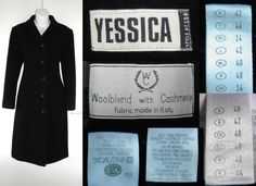 1990's Vintage YESSICA Long Winter Wool Cashmere Coat Jacket Goth Grunge Ladies Womens 14 42 L