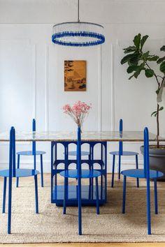 crosby studios majorelle blue furniture dining room