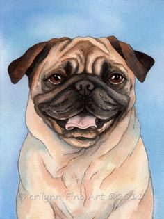 Black and Tan Pug dog print watercolor art reproduction 8x10