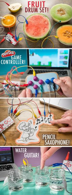 Make Makey: Make everyday objects do amazing things. musical band Makey Makey: Make everyday objects do amazing things Stem Science, Science Fair, Teaching Science, Science For Kids, Teen Programs, Library Programs, Steam Activities, Science Activities, Science Kits