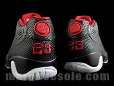 Detailed images, release date, and pricing information for the Air Jordan 9 Low Black /White-Gym Red colorway, style 832822-001.