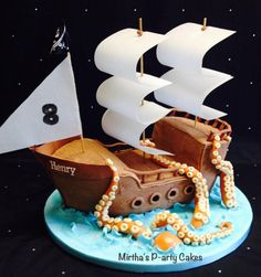 Pirate ship & sea monster cake by Mirtha's P-arty Cakes
