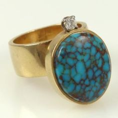 "Harvey Begay, Navajo, gold ring, diamond, Candelaria turquoise, courtesy of Garland's Indian Jewelry. For an artist biography, see ""American Indian Jewelry I & II,"" by Gregory and Angie Schaaf."