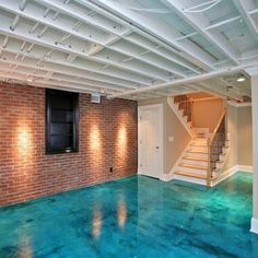 Stained Concrete Floor In Basement Design Ideas, Pictures, Remodel, and Decor - page 2 Concrete Basement Floors, Painted Concrete Floors, Painting Concrete, Basement Ceilings, Basement Floor Paint, Acid Wash Concrete, Epoxy Concrete Floor, Exposed Basement Ceiling, Basement Ceiling Painted