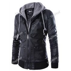 Autumn Winter Double Collar Casual Faux Leather Jacket With Hoodie for Boy Men DCD-351354