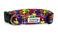 Autism Awareness Adjustable Dog Collar by 4BlackPaws on Etsy, $17.50