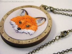Miniature Hand-Embroidery and Birch Wood Fox Pendant | Community Post: 15 Fabulous Fox-Themed Crafts You Can Own