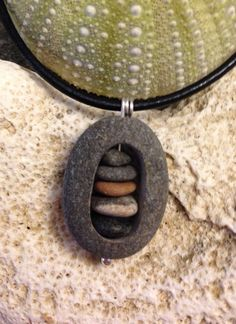Beach stone jewelry carved beach stone with by Seasidebyarlene3, $40.00
