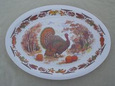 vintage melmac turkey platter, huge platter for Thanksgiving or Christmas