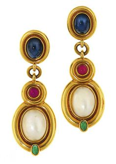 earring set with cabochon sapphire surmounts suspending a cultured mabé pearl pendant decorated with cabochon rubies and emeralds