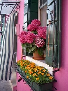 I went to Burano, Italy - right along side Venice during college for a summer program with SCAD. It was as pretty as it looks. just beautiful. I wish I never left Balcony Flowers, Window Box Flowers, Window Boxes, Flower Boxes, Old Windows, Windows And Doors, Porches, Best Of Italy, Garden Windows