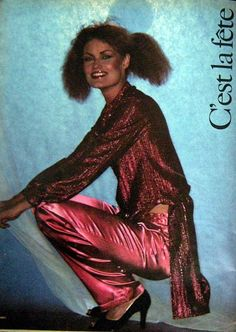 New Year looming and it's party time. 1976 Satin Pants. Crimped hair and metallic red blush.