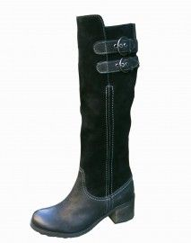 Black Leather Suede Ladies Boots. Fantastic black ladies boots in a combination of leather and leather suede.  The knee high boots have a full zip with a three position adjustable buckle so the calf width can be increased and decreased in size to ensure a great fit.  The ladies boots have a lovely silky fur lining, chunky sole & a 8.5cm chunky heel for extra height. The boost leg height is 35cm.