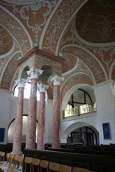 """Very old synagogue in Mikulov, Moravia. Built in """"Polish style"""" in 16th C., restored in 1719 in Baroque style., functioned till 1938.- Rabi Jehuda Löw ben Becalel spent most of his life in Mikulov before becoming the Chief Rabbi in Prague."""