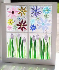How to make faux stained glass windows - this window was made by Saywhatagnes on gardenweb.com