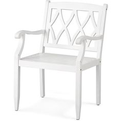 Improvements Lexington Wood Dining Arm Chair (11080 RSD) ❤ liked on Polyvore featuring home, outdoors, patio furniture, outdoor chairs, chair, outdoor chair, outdoor dining chair, outdoor furniture, white armchair and white outdoor chairs