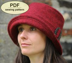 DESCRIPTION:    Please note: If you wish to make a few bags or hats from Charlie's Aunt sewing patterns or books to sell, please read the rules in the additional information section of our policies page.    This is a PDF sewing pattern for the neat, early 1920s-inspired Chelsworth Cloche hat featuring a turn-up brim that narrows to the back, a crown that is shaped in at the top and a separate 'belt' with buckle trim.  This functional hat suits most face shapes and looks equally stylish…