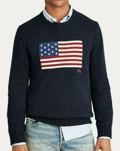 Best polo sweater, New Polo Ralph Lauren Men's Iconic Flag Cotton Sweater (S.M.L.XL) Navy - made in USA. Polo Ralph Lauren, Ralph Lauren Long Sleeve, Cotton Sweater, Men Sweater, Polo Sweater, American Flag Sweater, Mens Big And Tall, Bleu Marine, Mens Sweatshirts